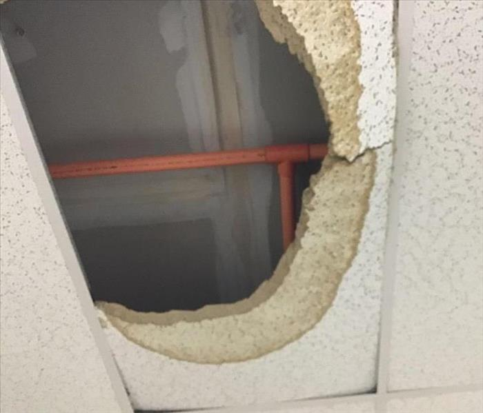 broken water pipe causes ceiling stains